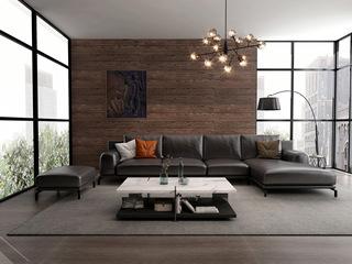 诺美帝斯 意式极简T08沙发 纳帕皮深棕色皮艺转角沙发 1+3+左贵妃