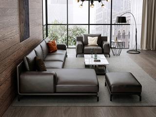 意式极简T08沙发 头层真皮 深棕色皮艺转角沙发 1+3+右贵妃