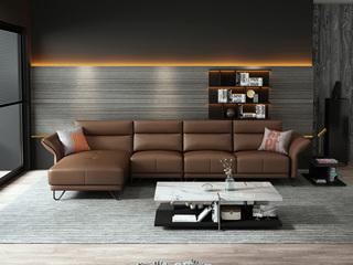诺美帝斯 意式极简T11沙发 纳帕皮深棕色皮艺转角沙发 1+3+右贵妃