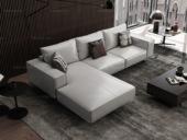 诺美帝斯 意式极简T12沙发 纳帕皮白灰色皮艺转角沙发 1+3+右贵妃