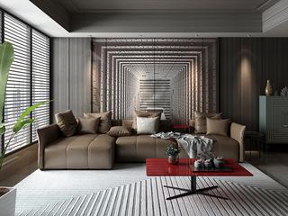 诺美帝斯 意式极简T15沙发 纳帕皮棕色皮艺转角沙发 1+3+右贵妃