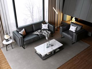 诺美帝斯 意式极简T17沙发 纳帕皮黑色皮艺沙发组合 1+2+3