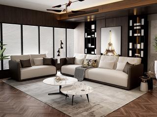 意式极简T18沙发 抗污雪尼尔白灰色布艺双人沙发