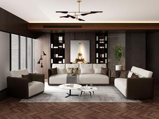 诺美帝斯 意式极简T18沙发 抗污雪尼尔白灰色布艺沙发组合 1+2+4