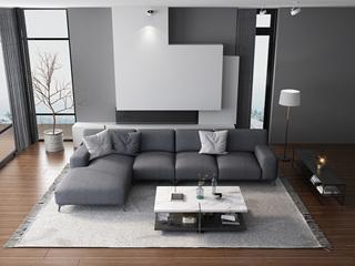 意式极简T20沙发 棉麻灰色布艺转角沙发 1+3+右贵妃