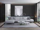 诺美帝斯 意式极简T21沙发 棉麻白灰色布艺转角沙发 1+3+右贵妃