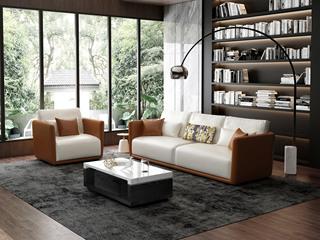 意式极简T18沙发 仿真皮橘+白皮艺单人沙发