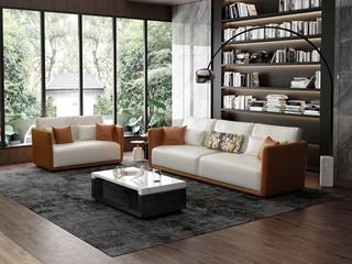 意式极简T18沙发 仿真皮橘+白皮艺双人沙发