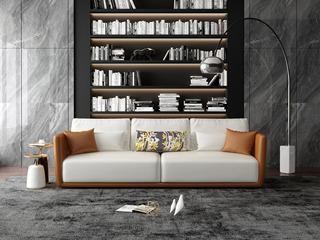 意式极简T18沙发 仿真皮橘+白皮艺三人沙发