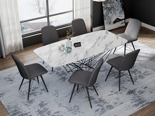 意式极简大理石餐桌 T1001白色1.6米长方形餐桌