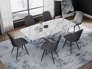 意式极简大理石餐桌 T1001白色2.0米长方形餐桌