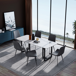 意式极简大理石餐桌 T1005样色1.4米长方形餐桌