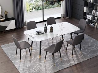 意式极简大理石餐桌 T1007样色1.6米长方形餐桌