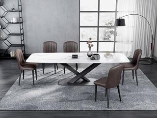 意式极简大理石餐桌 T1029白色1.4米长方形餐桌