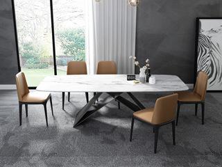 意式极简大理石餐桌 T1030白色1.4米长方形餐桌