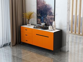 意式极简餐边柜 T15橘黄色餐边柜