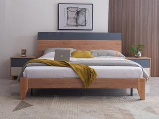喔木居 现代极简卡姆系列 经典原木色1.8*2.0米实木床