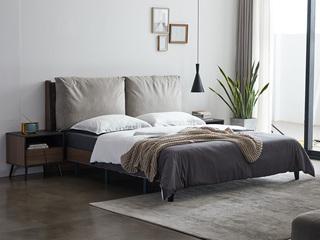 喔木居 现代极简卡姆系列 灰色1.8*2.0米实木床