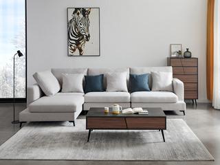 喔木居 现代简约卡姆系列 浅咖啡色布艺转角沙发(1+1+左贵妃)