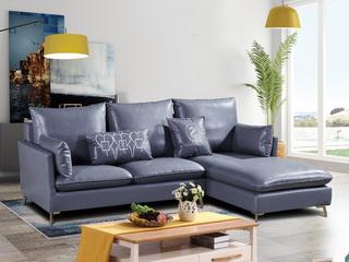 喔木居 现代简约卡姆系列 高级灰蓝色皮艺转角沙发(1+3+左贵妃)