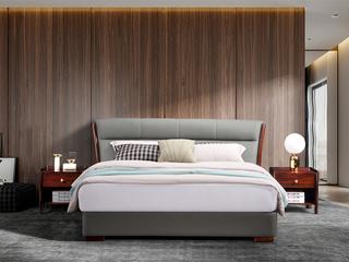 左妮丹思 新中式轻奢 优质进口头层黄牛皮 1.8米大床