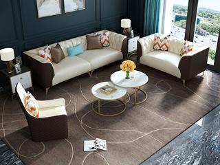 慕梵希 轻奢C05沙发米白配咖啡色 高端纳帕皮沙发组合 1+2+4