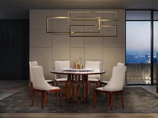 左妮丹思 中式休闲系列916圆桌 大理石圆形餐桌 含转盘