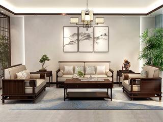檀宫御品 新中式 优质进口黄金檀木 FA1902 沙发1+2+3