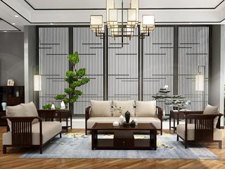 檀宫御品 新中式 优质进口黄金檀木 FA1903 沙发1+2+3
