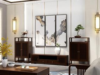 檀宫御品 新中式 优质进口黄金檀木2.4米 FA1902 电视柜