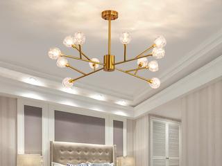 领秀照明 北欧风格 铁艺电镀+水晶8010-12吊灯(不含光源)