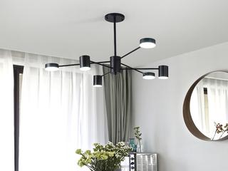 领秀照明 北欧风格 铁艺烤漆+亚克力8022-6吊灯(带三色LED光源)