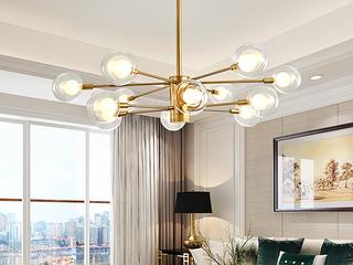 领秀照明 北欧风格 铁艺加玻璃灯罩2250-10吊灯(不含光源)