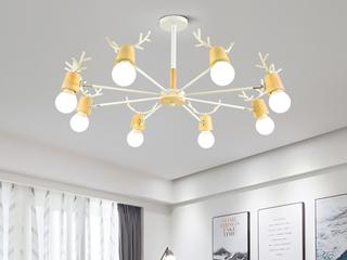 领秀照明 北欧风格 铁艺加木头2248-10吊灯(不含光源)