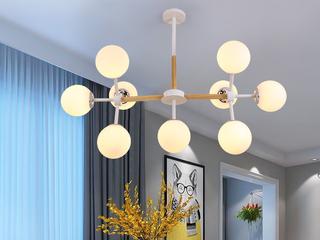 领秀照明 北欧风格 铁艺+木头+玻璃罩2245-9奶白罩吊灯(不含光源)