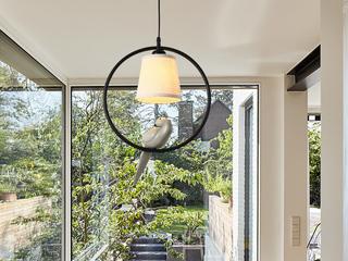 领秀照明 北欧风格 铁艺加布艺罩2237圆形吊灯(不含光源)