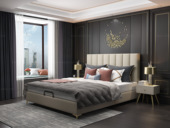 皮坊工艺 轻奢系列108床 1.8*2.0米米黄色布艺床
