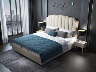 轻奢系列106床 1.8*2.0米米黄色布艺床