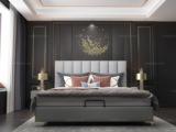 皮坊工艺 轻奢系列108床 1.5*2.0米浅灰色布艺床