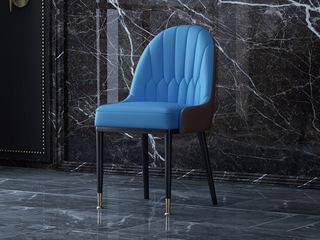慕梵希 轻奢 蓝色PU皮 实木脚 铜脚C12餐椅