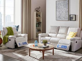 芝华仕 头等舱现代布艺功能沙发 小户型客厅组合月光白(1+3)