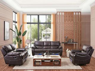 头等舱头层真皮美式功能沙发客厅现代简约组合整装家具1+2+3沙发咖色(手动可躺)