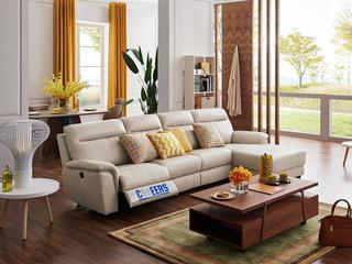 芝华仕 头等舱 真皮现代简约沙发客厅牛皮电动多功能组合椅整装象牙白转角沙发(电动可躺)