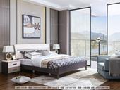 现代极简主义风格1.8米床 胡桃色床框+白色床头 实木床 现代简约1米8双人床 经济实惠首选