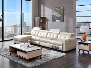 头等舱沙发头层牛皮简约现代真皮客厅组合功能沙发整装5838大气拉扣靠背 手调头靠 电动可躺