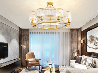 领秀照明 轻奢 铁艺+水晶罩1608-8 金色吊灯(不含光源)