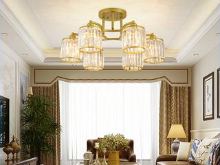 领秀照明 轻奢 铁艺+水晶罩1618-6吊灯(不含光源)