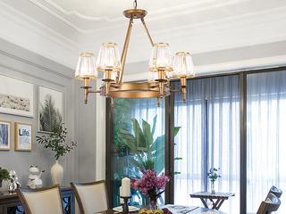 领秀照明 轻奢 铁艺+水晶罩1633-6 古铜色吊灯(不含光源)