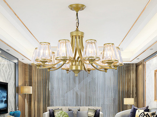 领秀照明 轻奢 铁艺+水晶罩1635-10 金色吊灯(不含光源)