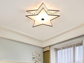 领秀照明 轻奢 铁艺+水晶罩+亚克力1650/大五角星吸顶灯(不含光源)